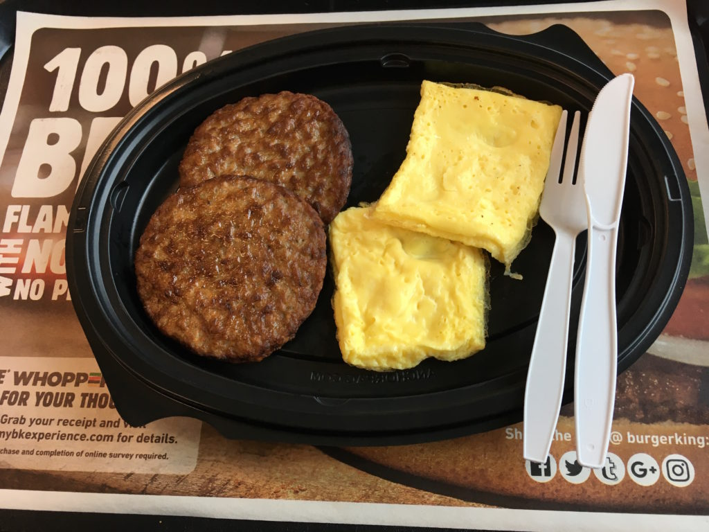 Low Carb Burger King Double Sausage and Egg A La Carte Breakfast Platter