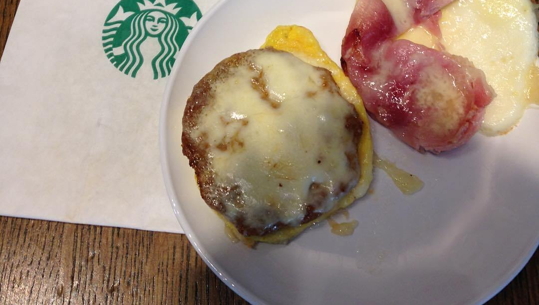 Low carb Starbucks breakfast sandwiches without the bun.