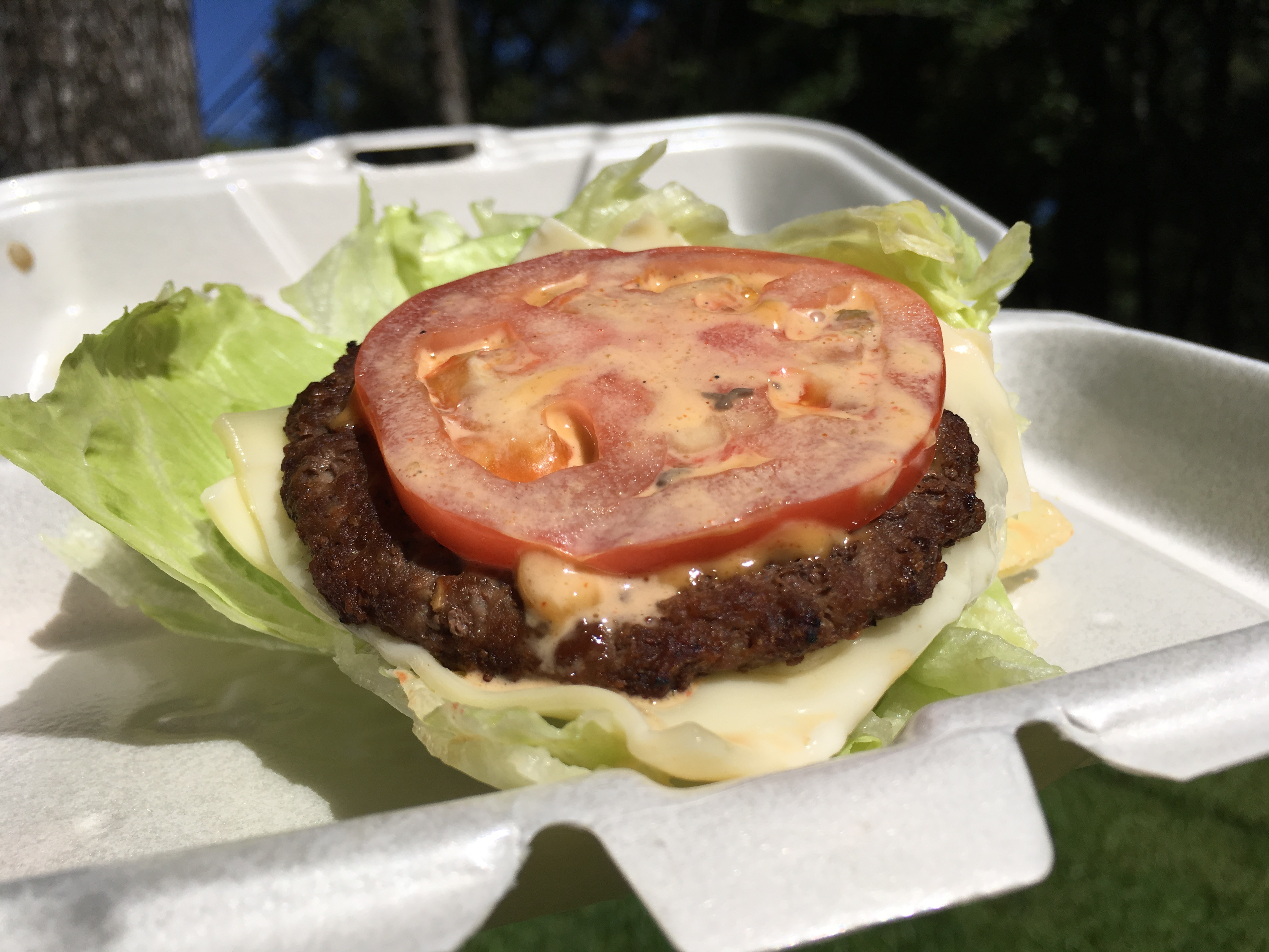 Lettuce wrapped low carb jalapeno double cheeseburger from Carl's Jr.