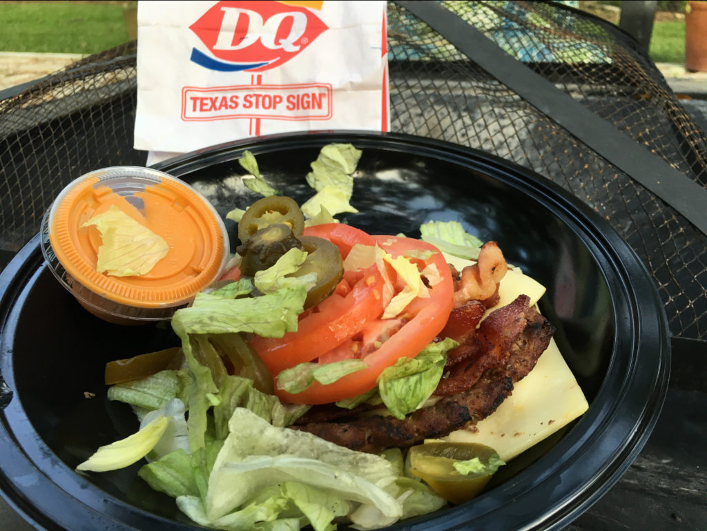 Low carb bunless FlameThrower Burger from Dairy Queen.