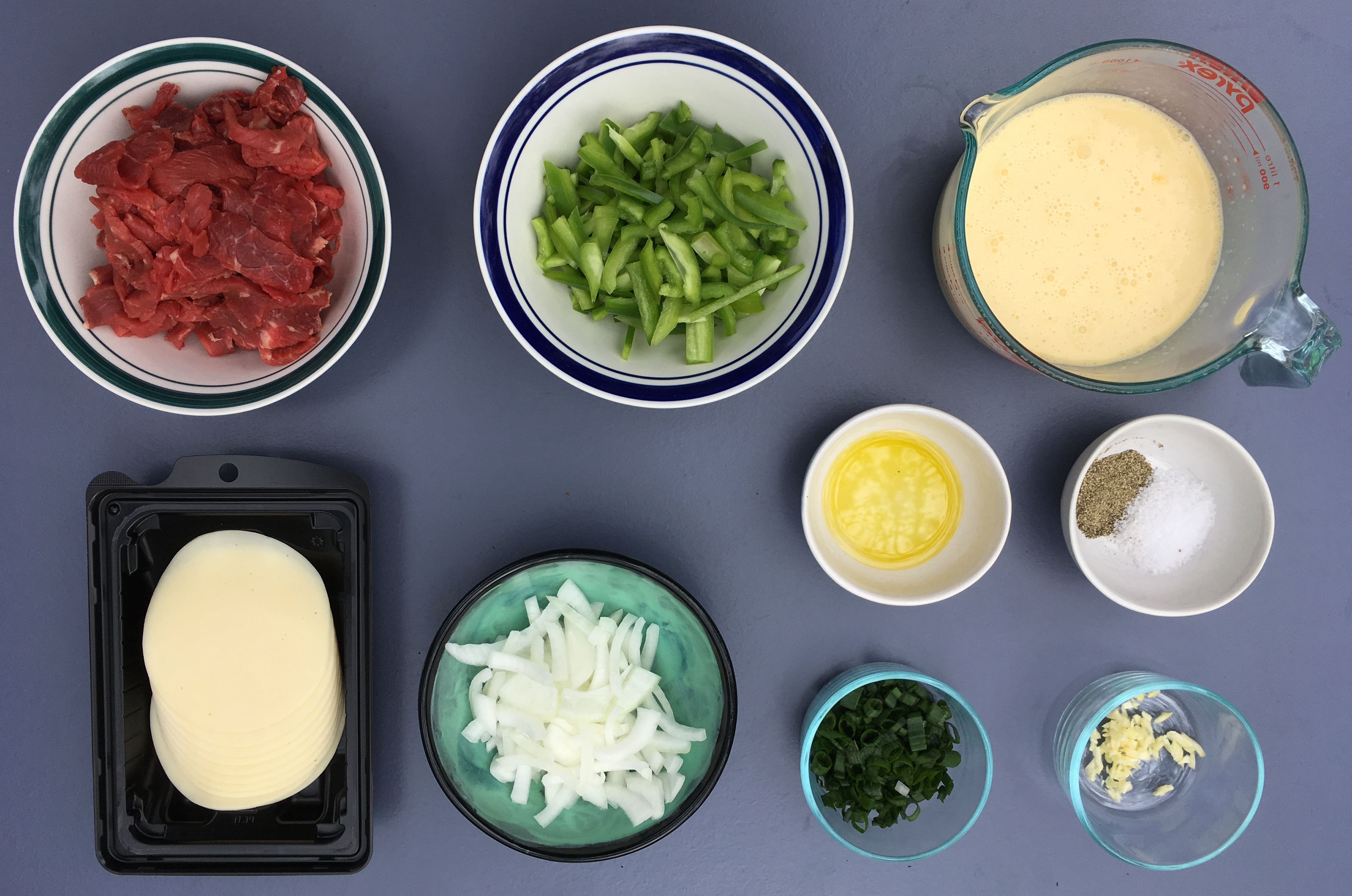 Low Carb Philly Cheesesteak Casserole Ingredients - Prepped
