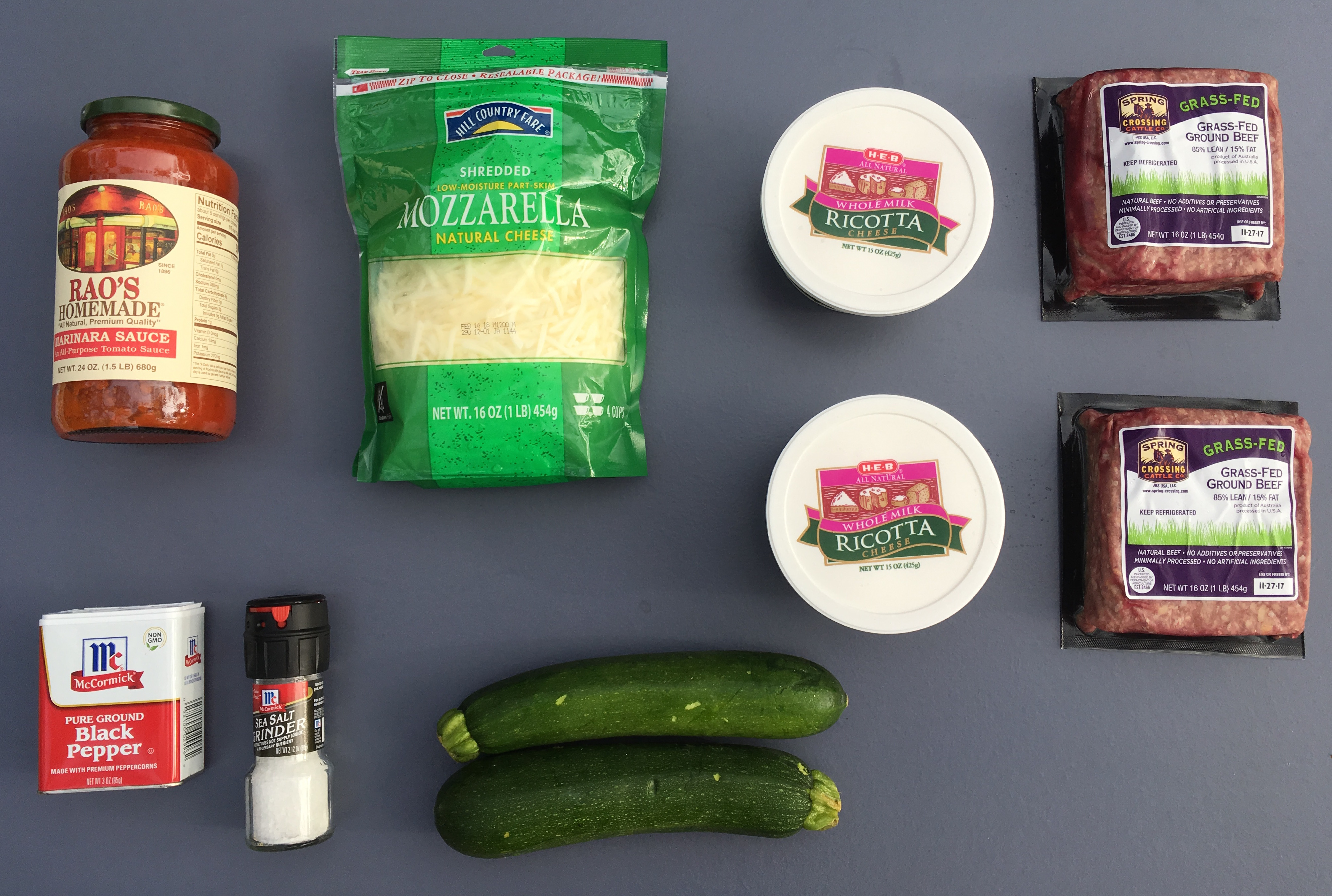 Low Carb Zucchini Lasagna Ingredients