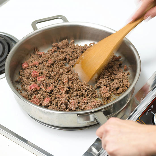 ground your beef for low carb spaghetti